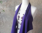 Scarf & Vest Combo - Purple Cotton Jersey Vest, Tee Shirt, Summer Vest, Beach Cover Up, Scarf, Women's Clothing by sandeeknits