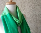 Infinity scarf Color Block Lime Green Kelly Green Jersey Tee Shirt Scarf Necklace