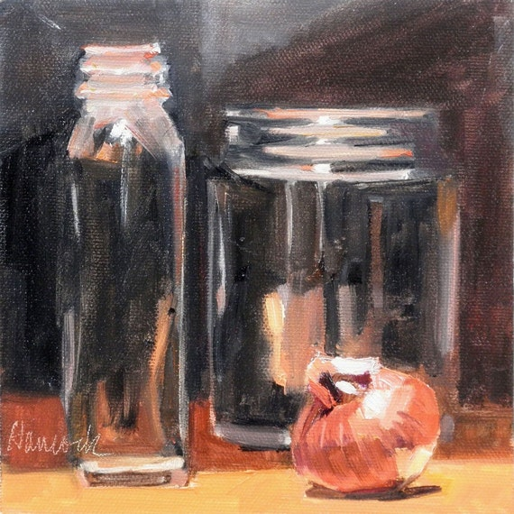 Two Glass Jars Small Red Onion