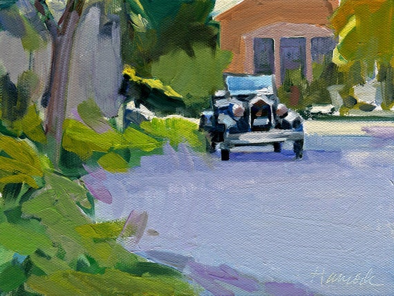 Carriage House and Car oil painting