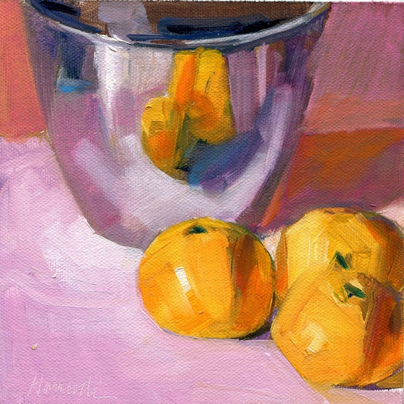 Reserved for Roxane:  Silver Bowl and Tangerines on Lavender