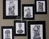 Chess set series - Ink Drawings