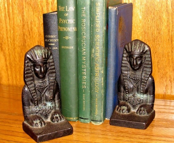 Art Deco Egyptian Sphynx Bookends - Cast Iron - Antique