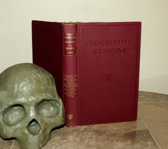 Antique 1914 Medical Book - Progressive Medicine - Illustrated Rare 1st Edition - The Mystic Third Eye / Pineal Gland Discussed