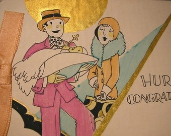 Hurray - Congratulations - 1920s Welcome Baby with Style Card