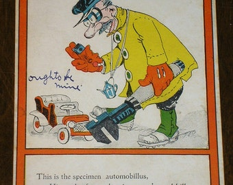 The Automobile Fiend - 1906 Antique Humor Postcard