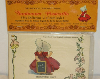Vintage Reproduction Sunbonnet Postcard Set, 12 Postcards