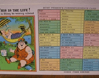 This Is The Life ... Not a thing to worry about ... Vintage Humor Postcard