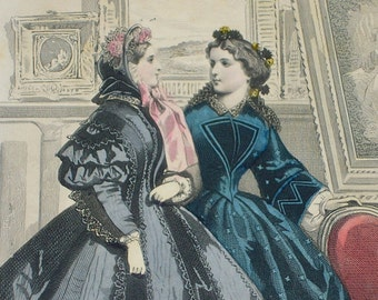 In the antique shoppe.  Original 1861 Les Modes Parisiennes French Dress Fashion Illustration
