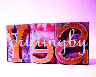 YeS-- Purple Digital Art Image, Photograph of Letterpress Woodblock Word