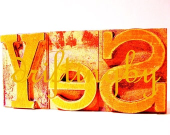 YeS-- Red Digital Art Image, Photograph of Letterpress Woodblock Word