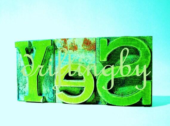 YeS-- Green Digital Art Image, Photograph of Letterpress Woodblock Word