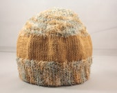 Fuzzy gold and earth-tone knit baby hat, newborn to 9 months