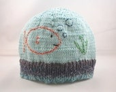 Goldfish embroidered knit baby hat, 6 to 18 months