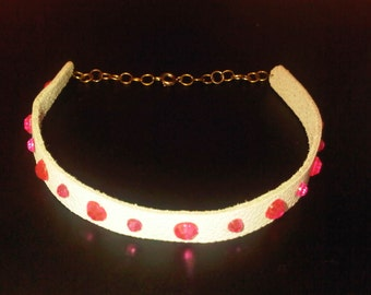 SALE PRICE %75 OFF !! White Leather Choker Collar Necklace Bright Pink Acrylic Gems Jewels Diamond Sparkle Barbie Retro Raver Urban Princess
