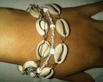 Summer Shells Forever Three Strand Bracelet ( Matching Earrings Also Available ) Boho Bohemian Sea Seashell Scene Rave Holiday Mermaid Fairy