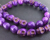 12mm gemstones Loose purple  turquoise skull beads stone FULL STRAND 16""