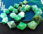 Loose Gemstone Faceted Green Nugget Agate 25mm gemstone  bead full one strand