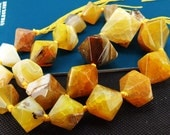 Loose Gemstone Faceted Coffee Nugget Agate 25mm gemstone  bead full one strand