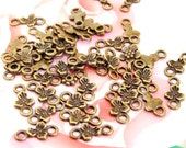 50Beads--- Charm 2Loops 3Petals Flowers  Pendant Bronze Plated Brass Filigree Findings Metal  Earwire Connector Link Beads 6mmx12mm 3G