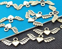 50pcs  Superb Bronze Filigree Carved angel wings Findings Pendants 10mmx28mm A