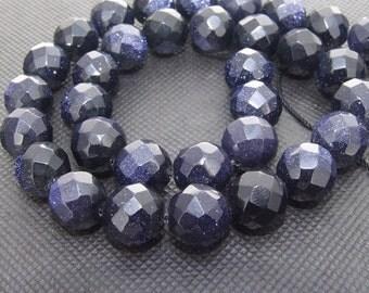 """Strands Shiny faceted 12mm blue sandstone goldstone quartz bead Loose One strands 16"""""""