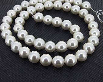Loose gemstone 8mm round white south sea shells beads full One strand 16""