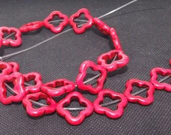 "Loose beads red flower turquoise beads stone FULL STRAND 16"" gemstone"