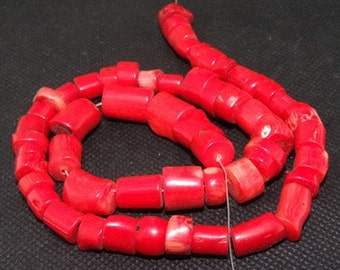 "red coral beads,Loose beads,full strand of red coral nugget beads,coral stone beads FULL STRAND 15""gemstone"