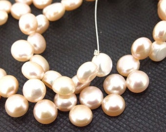 Loose Pink 8mm  freshwater cultured Pearl beads FULL STRAND