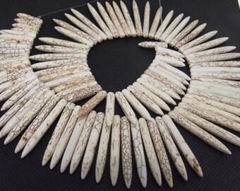 """gemstones Loose 50mm needle white turquoise beads stone FULL STRAND 16"""""""