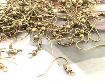 Earring Hook Antique Bronze Filigree Metal 18mm---100Pairs