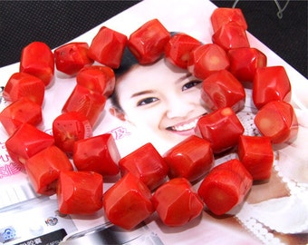 """Loose full strand of 14mm orange Coral ,coral stone beads FULL STRAND 17"""""""