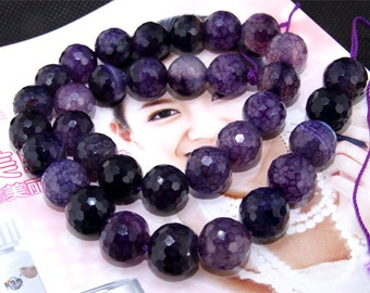 """Faceted Dark Purple Dragon Agate 12mm Gemstone beads Loose One strand 15"""""""