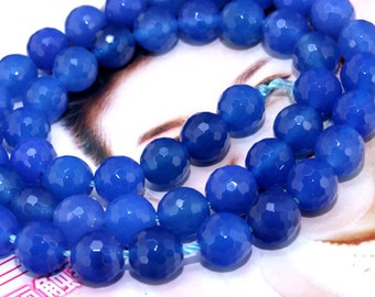 Faceted Blue Agate 8mm Gemstone beads Loose One strand 15""