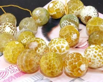 Big Yellow Faceted Agate 20mm Gemstone beads Loose One strand 15.5""