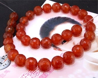 """A Super Red  Faceted Agate 12mm Gemstone beads Loose One strand 15.5"""""""