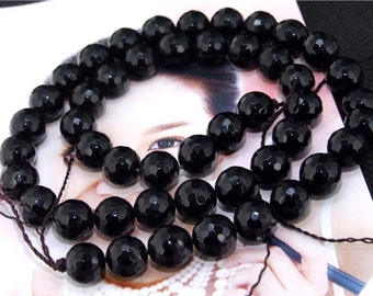 """Faceted Black Agate 12mm Gemstone beads Loose One strand 15"""""""