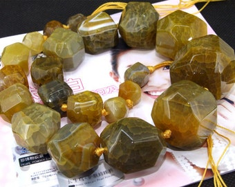 "big faceted yellow  agate beads,Loose beads,full strand of agate  FULL STRAND 18"" gemstone"