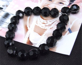 20beads faceted 12mm black glass crystal gemstone beads  Loose beads