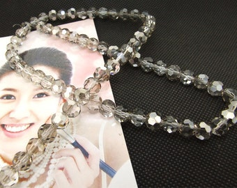 "8mm faceted shiny silver color glass beads,Loose 70beads,full strand of agate  FULL STRAND 20"" gemstone"