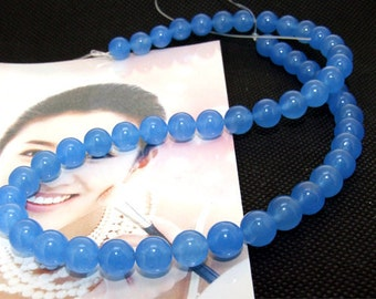 Strands 8mm blue jade round bead Loose One strand