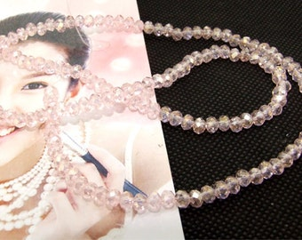 "4mm faceted shiny pink color glass beads,Loose 150beads,full strand of agate  FULL STRAND 17"" gemstone"