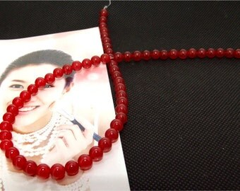 Strands 6mm red jade round bead Loose One strand