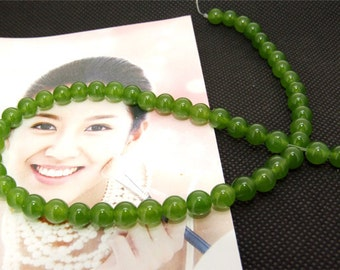 Strands 6mm olive jade round bead Loose One strand