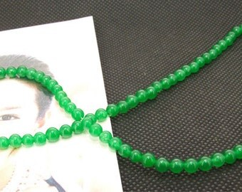 Loose Gemstone green jade gemstone 4mm bead full 2strands 15.5""