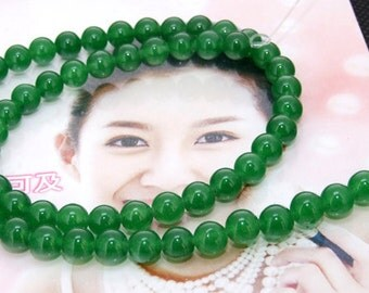 Strand green round jade full strand 6mm gemstone bead Loose One strand