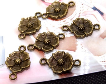 Flower Antique Bronze Filigree Metal 15mm---6Beads