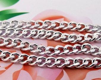 "Loop Twist Cut Silver Plated Copper Chain 2mm---38"""