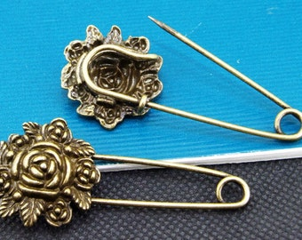 6pcs of Antique Bronze Lovely Flowers Safety Pins Broochs  findings 24mmx56mm
